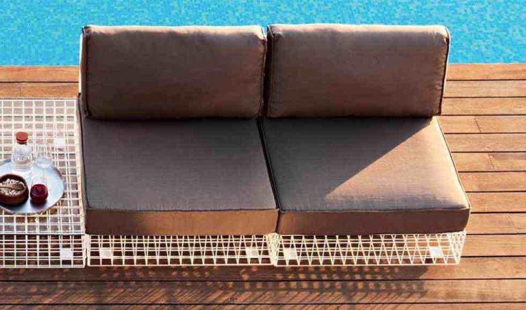 canapé de jardin en fer et tissu